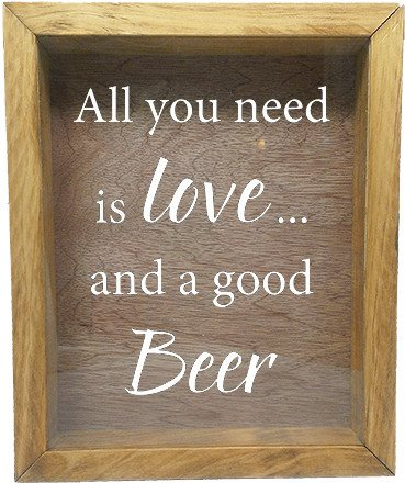 "Wooden Shadow Box Wine Cork/Bottle Cap Holder 9""x11"" - All You Need is Love and a Good Beer - Summer Oak Frame w/White Lettering - Wicked Good Candle and Decor - 5"