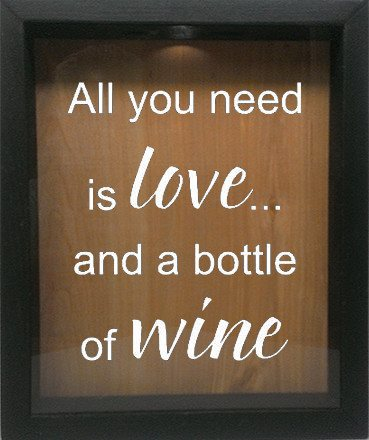 "Wooden Shadow Box Wine Cork/Bottle Cap Holder 9""x11"" - All You Need is Love and a Bottle of Wine - Ebony Frame w/White Lettering - Wicked Good Candle and Decor - 4"