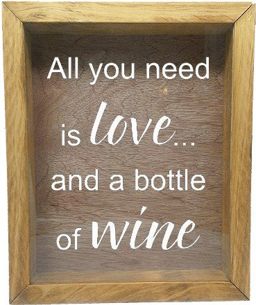 "Wooden Shadow Box Wine Cork/Bottle Cap Holder 9""x11"" - All You Need is Love and a Bottle of Wine - Summer Oak Frame w/White Lettering - Wicked Good Candle and Decor - 5"