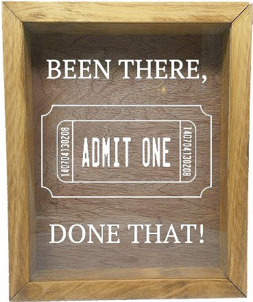 "Wooden Shadow Box Wine Cork/Bottle Cap Holder 9""x11"" - Been There, Done That! with Ticket - Summer Oak Frame w/White Lettering - Wicked Good Candle and Decor - 5"