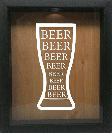 "Wooden Shadow Box Wine Cork/Bottle Cap Holder 9""x11"" - Beer Beer Beer in Glass - Ebony Frame w/White Lettering - Wicked Good Candle and Decor - 5"