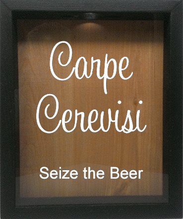"Wooden Shadow Box Wine Cork/Bottle Cap Holder 9""x11"" - Carpe Cerevisi Seize The Beer - Ebony Frame w/White Lettering - Wicked Good Candle and Decor - 4"