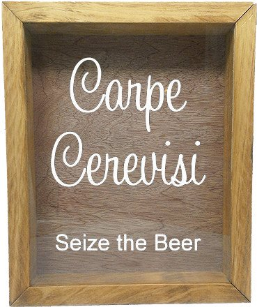"Wooden Shadow Box Wine Cork/Bottle Cap Holder 9""x11"" - Carpe Cerevisi Seize The Beer - Summer Oak Frame w/White Lettering - Wicked Good Candle and Decor - 5"