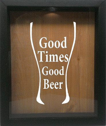"Wooden Shadow Box Wine Cork/Bottle Cap Holder 9""x11"" - Good Times Good Beer in Glass - Ebony Frame w/White Lettering - Wicked Good Candle and Decor - 4"