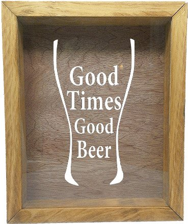 "Wooden Shadow Box Wine Cork/Bottle Cap Holder 9""x11"" - Good Times Good Beer in Glass - Summer Oak Frame w/White Lettering - Wicked Good Candle and Decor - 5"