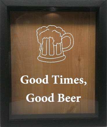 "Wooden Shadow Box Wine Cork/Bottle Cap Holder 9""x11"" - Good Times, Good Beer with Beer Mug - Ebony Frame w/White Lettering - Wicked Good Candle and Decor - 4"