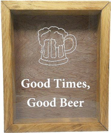 "Wooden Shadow Box Wine Cork/Bottle Cap Holder 9""x11"" - Good Times, Good Beer with Beer Mug - Summer Oak Frame w/White Lettering - Wicked Good Candle and Decor - 5"