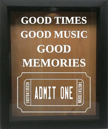 "Wooden Shadow Box Wine Cork/Bottle Cap Holder 9""x11"" - Good Times Good Music Good Memories - Ebony Frame w/White Lettering - Wicked Good Candle and Decor - 4"