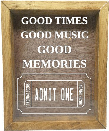 "Wooden Shadow Box Wine Cork/Bottle Cap Holder 9""x11"" - Good Times Good Music Good Memories - Summer Oak Frame w/White Lettering - Wicked Good Candle and Decor - 5"