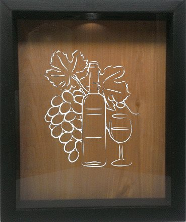 "Wooden Shadow Box Wine Cork/Bottle Cap Holder 9""x11"" - Grapes Bottle Glass - Ebony Frame w/White Lettering - Wicked Good Candle and Decor - 4"
