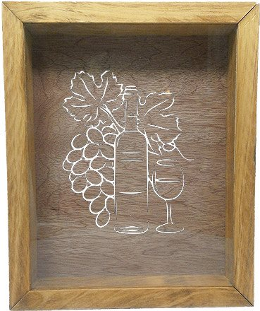 "Wooden Shadow Box Wine Cork/Bottle Cap Holder 9""x11"" - Grapes Bottle Glass - Summer Oak Frame w/White Lettering - Wicked Good Candle and Decor - 5"