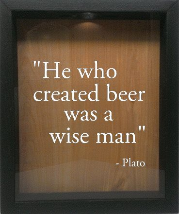 "Wooden Shadow Box Wine Cork/Bottle Cap Holder 9""x11"" - He Who Invented Beer Was A Wise Man - Ebony Frame w/White Lettering - Wicked Good Candle and Decor - 4"