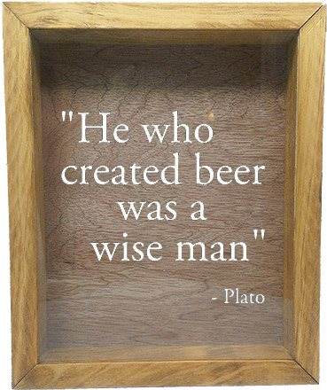 "Wooden Shadow Box Wine Cork/Bottle Cap Holder 9""x11"" - He Who Invented Beer Was A Wise Man - Summer Oak Frame w/White Lettering - Wicked Good Candle and Decor - 5"