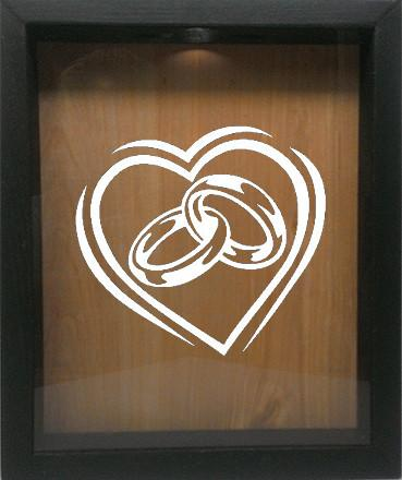 "Wooden Shadow Box Wine Cork/Bottle Cap Holder 9""x11"" - Heart with Wedding Rings - Ebony Frame w/White Lettering - Wicked Good Candle and Decor - 4"