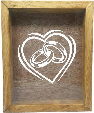 "Wooden Shadow Box Wine Cork/Bottle Cap Holder 9""x11"" - Heart with Wedding Rings - Summer Oak Frame w/White Lettering - Wicked Good Candle and Decor - 5"