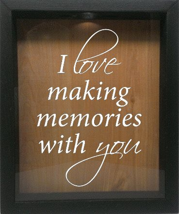 "Wooden Shadow Box Wine Cork/Bottle Cap Holder 9""x11"" - I Love Making Memories With You - Ebony Frame w/White Lettering - Wicked Good Candle and Decor - 4"