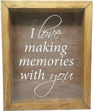 "Wooden Shadow Box Wine Cork/Bottle Cap Holder 9""x11"" - I Love Making Memories With You - Summer Oak Frame w/White Lettering - Wicked Good Candle and Decor - 5"