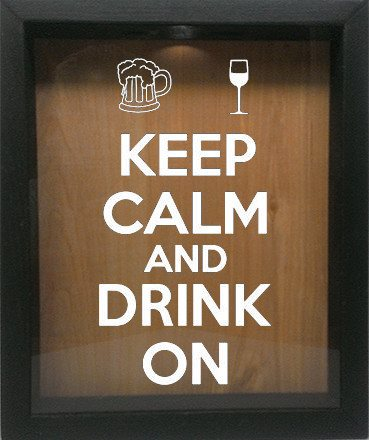 "Wooden Shadow Box Wine Cork/Bottle Cap Holder 9""x11"" - Keep Calm and Drink On with Mug and Glass - Ebony Frame w/White Lettering - Wicked Good Candle and Decor - 4"