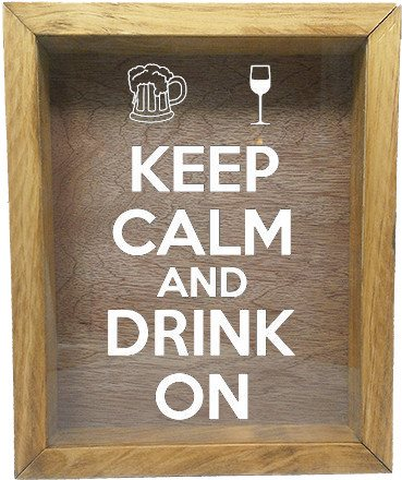 "Wooden Shadow Box Wine Cork/Bottle Cap Holder 9""x11"" - Keep Calm and Drink On with Mug and Glass - Summer Oak Frame w/White Lettering - Wicked Good Candle and Decor - 5"