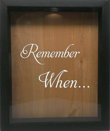 "Wooden Shadow Box Wine Cork/Bottle Cap Holder 9""x11"" - Remember When - Ebony Frame w/White Lettering - Wicked Good Candle and Decor - 4"