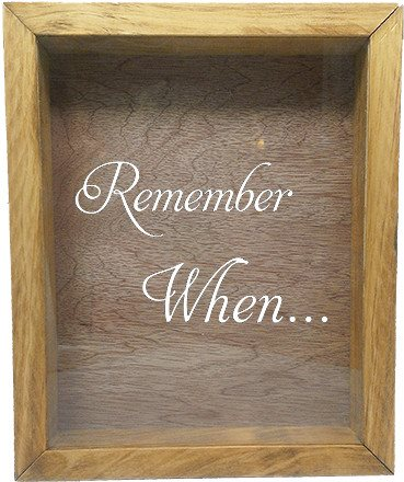 "Wooden Shadow Box Wine Cork/Bottle Cap Holder 9""x11"" - Remember When - Summer Oak Frame w/White Lettering - Wicked Good Candle and Decor - 5"