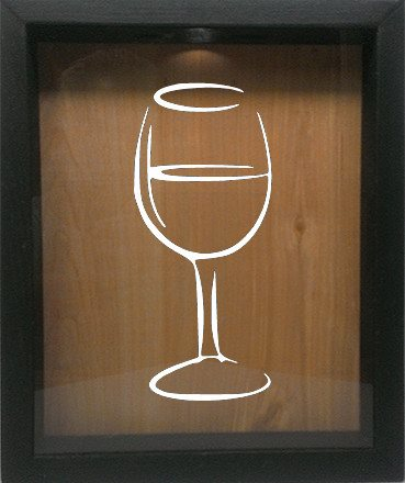 "Wooden Shadow Box Wine Cork/Bottle Cap Holder 9""x11"" - Wine Glass Silhouette - Ebony Frame w/White Lettering - Wicked Good Candle and Decor - 4"