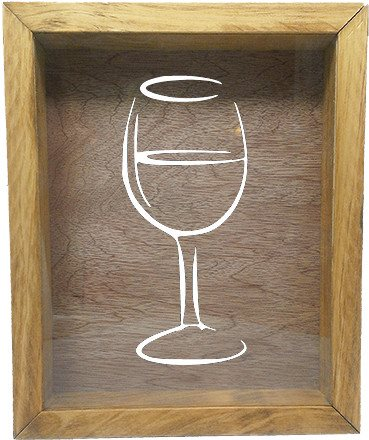 "Wooden Shadow Box Wine Cork/Bottle Cap Holder 9""x11"" - Wine Glass Silhouette - Summer Oak Frame w/White Lettering - Wicked Good Candle and Decor - 5"