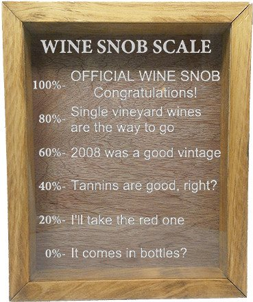 "Wooden Shadow Box Wine Cork/Bottle Cap Holder 9""x11"" - Wine Snob Scale - Summer Oak Frame w/White Lettering - Wicked Good Candle and Decor - 5"