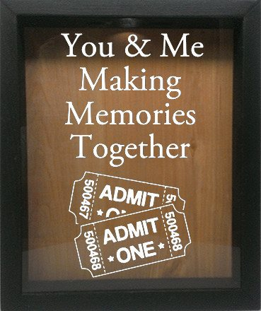 "Wooden Shadow Box Wine Cork/Bottle Cap Holder 9""x11"" - You and Me Making Memories Together - Ebony Frame w/White Lettering - Wicked Good Candle and Decor - 4"