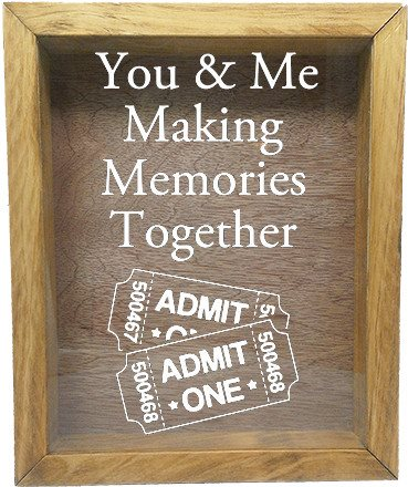 "Wooden Shadow Box Wine Cork/Bottle Cap Holder 9""x11"" - You and Me Making Memories Together - Summer Oak Frame w/White Lettering - Wicked Good Candle and Decor - 5"