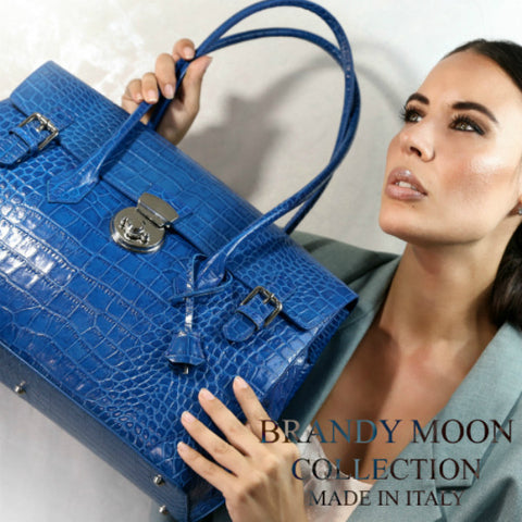 Moon Lock Satchel/Cobalt Croc