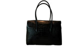 Moon Lock Satchel/Black Croc
