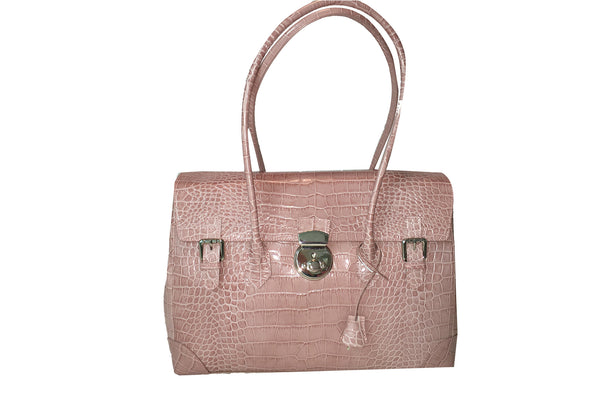 Moon Lock Satchel/Mauve Croc