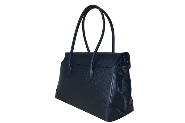 Moon Lock Satchel/Navy Ostrich
