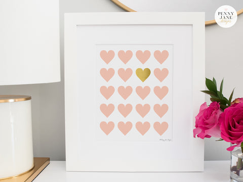 heart wall decor, heart nursery decor, pink and gold home decor, pink and gold nursery decor