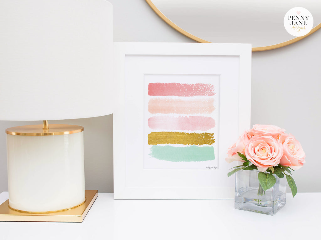 pink office decor. Paint Stroke Decor, Pink And Gold Home Office Decor