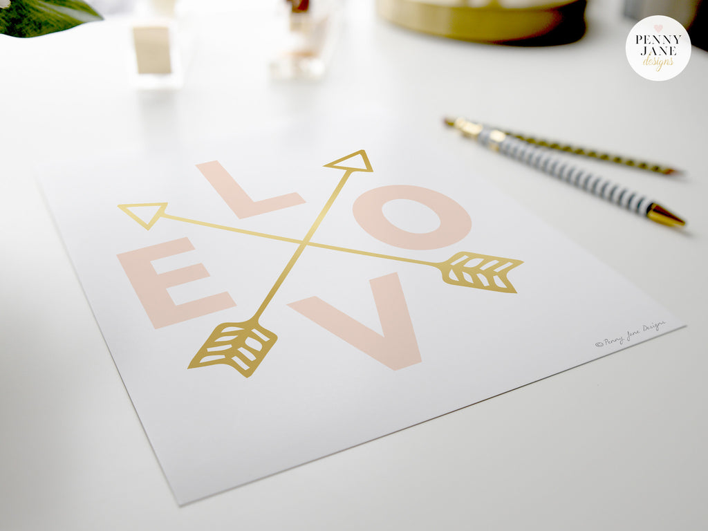 Pink Love & Gold Arrows Art Print
