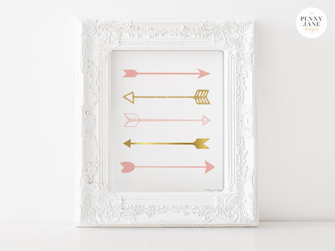 Pink and Gold Arrows Art Print