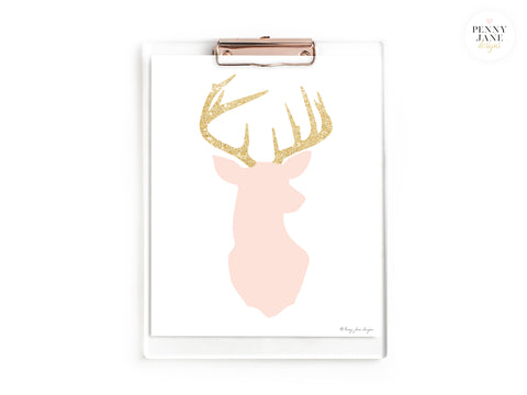 Pink and Gold Glitter Deer Art Print