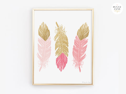 Pink and Gold Feathers Art Prints