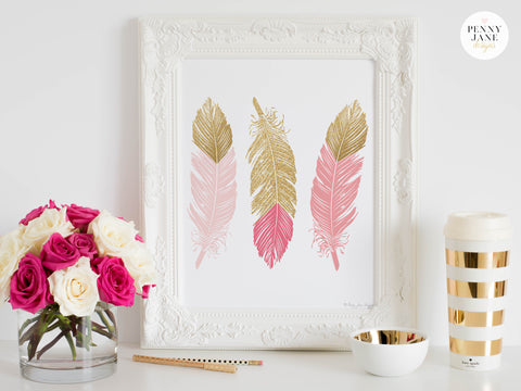 pink and gold decor, feathers, pink and gold feathers, feather home decor, feather wall decor, baby girl nursery decor, nursery decor, pink and gold decor, pink and gold home decor, feather wall decor
