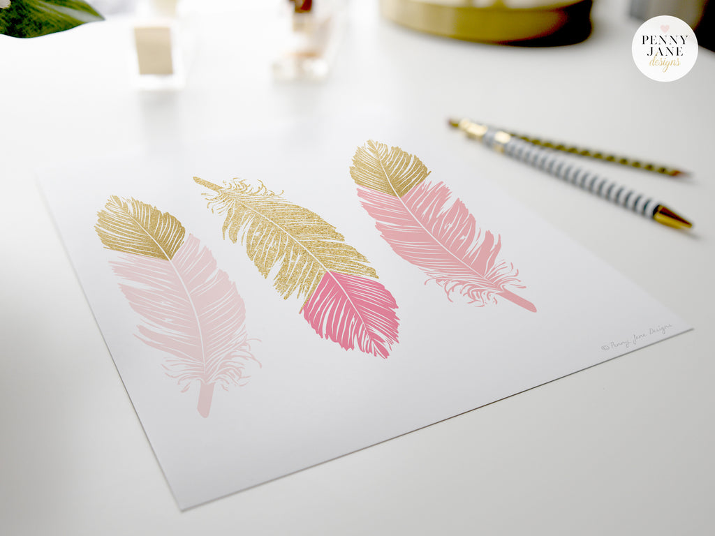Feather wall decor, feather home decor, pink and gold decor, home decor, modern feather decor, pink and gold nursery