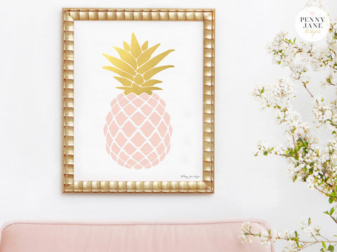 Pink Quartz and Gold Pineapple Art Print
