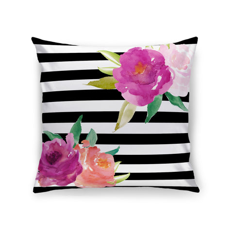 Stripes and Flowers Pillow