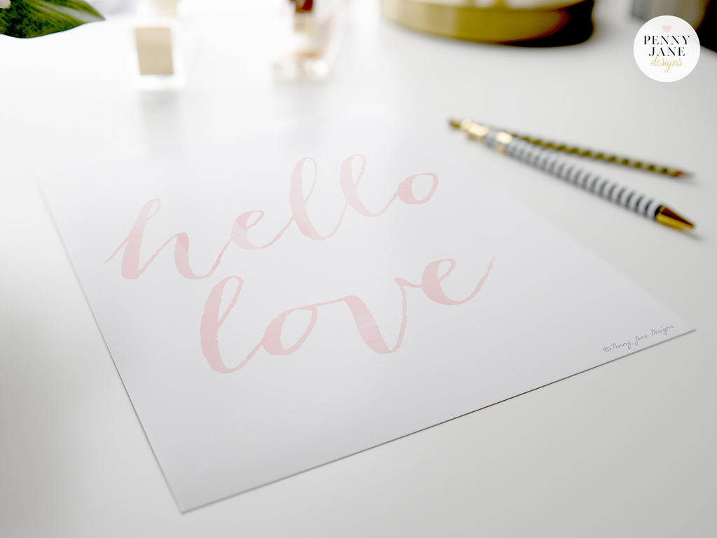 Hello love, cursive quotes, watercolor quotes