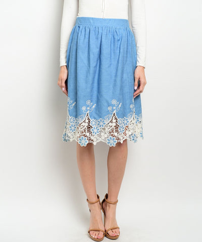 Vintage Blue & Lace Skirt