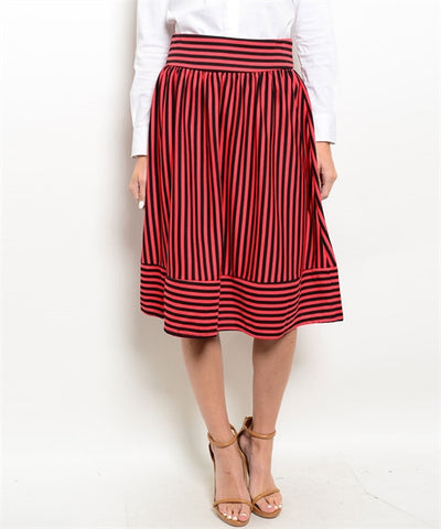 Coral & Black Striped Skirt