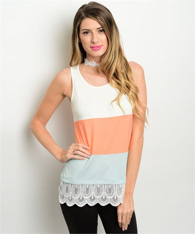 Ivory Peach & Mint Top With Lace