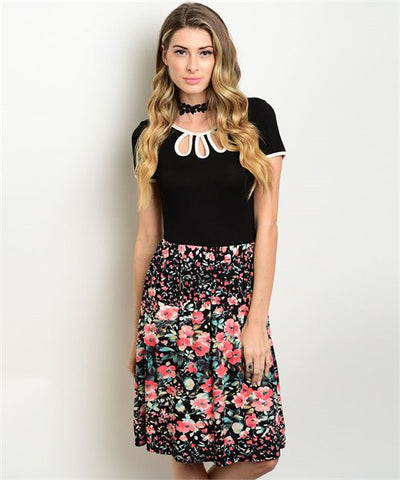 BLACK CORAL FLOWERS DRESS