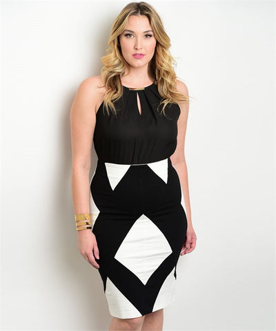Ivory & Black Pencil Skirt